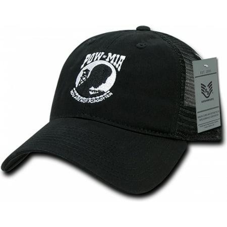 RapDom POW MIA Relaxed Trucker Mens Cap [Black - (Black Trucker Cap)