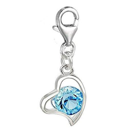 Clip on March Birthstone Heart Charm Pendant for European Jewelry w/ Lobster Clasp