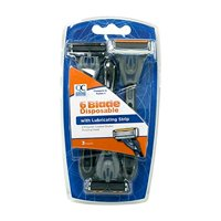 Quality Choice Six Blade Disposable Razor For Men 3 Count Each