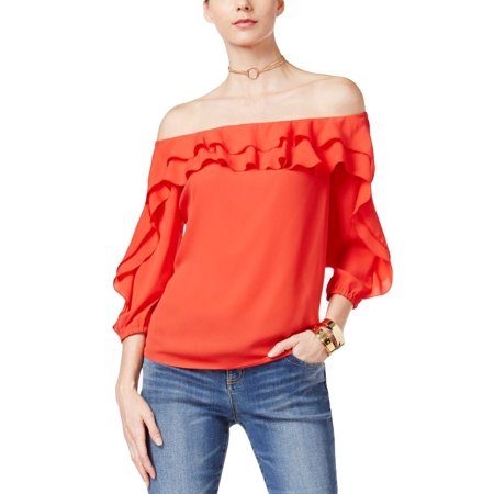 f8c540231fd37 INC INTERNATIONAL CONCEPTS Size XL Ruffled Off-The-Shoulder Top HIBISCUS  BLOOM