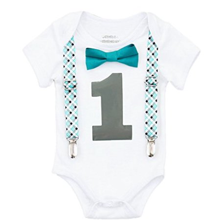 Noah's Boytique Baby Boys Plaid First Birthday Outfit 6-12 M Teal - Baby 1st Birthday