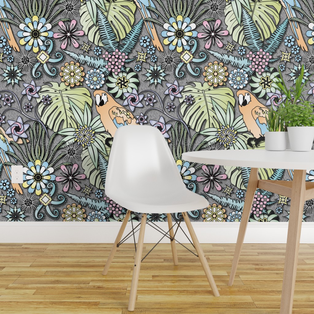 Peel And Stick Removable Wallpaper Parrot Jungle Tropical Floral