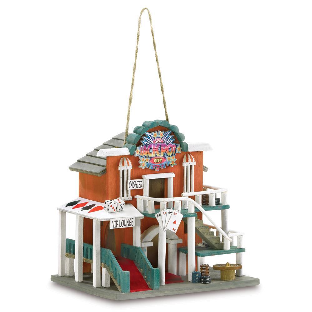 Bird House, Polyresin And Wood Chickadee And Hummingbird Birdhouses