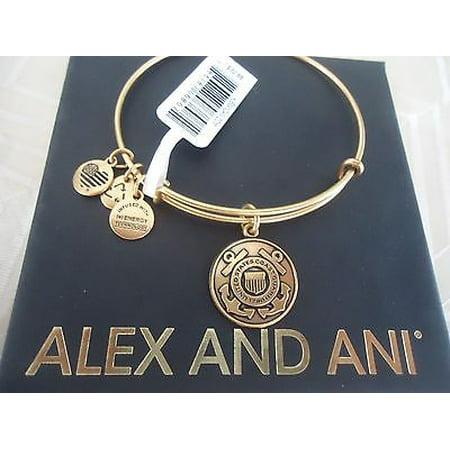 Alex And Ani U.S. Coast Guard Charm Rafaelian Gold Finish Bangle - Adult Ani