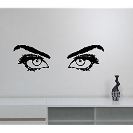 - Woman Eyes Vinyl Decal Eyelashes Eyebrow Sticker Closeup Girl Look Art Fashion Glamour Decorations for Home Makeup Beauty Salon Studio Room Wall Decor wes3
