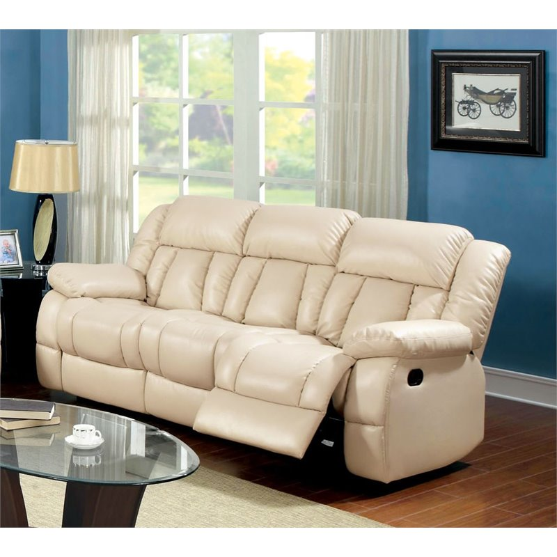 Furniture of America Frey Leather Upholstered Reclining Sofa in Ivory