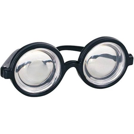 Nerd Glasses Round Bubbles Glasses Bug Eyes Specs Coke Bottle Costume Goggles - Novelty Goggles