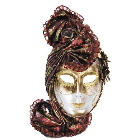 Loftus Headpiece Full Face Masquerade Venetian Mask, Brown Gold, One Size