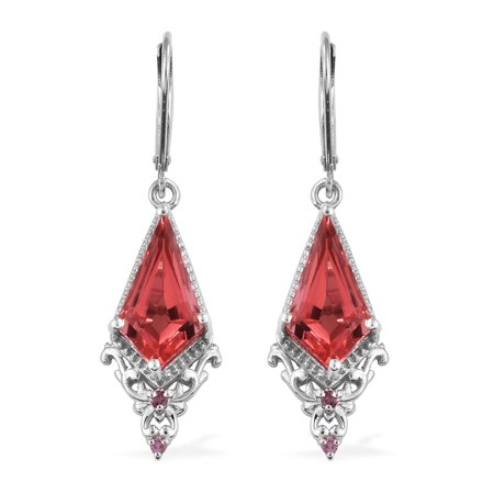 Lever Back Dangle Drop Earrings 925 Sterling Silver Platinum Plated Triplet Coral Quartz Pink Tourmaline Jewelry for Women Ct 5.8