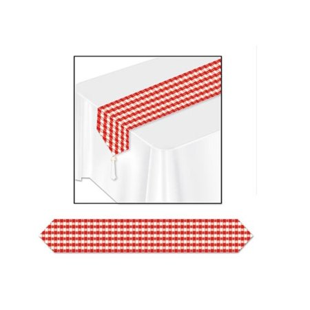 Club Pack of 12 Traditional Red and White Printed Gingham Table Runner - Red And White Table Runner