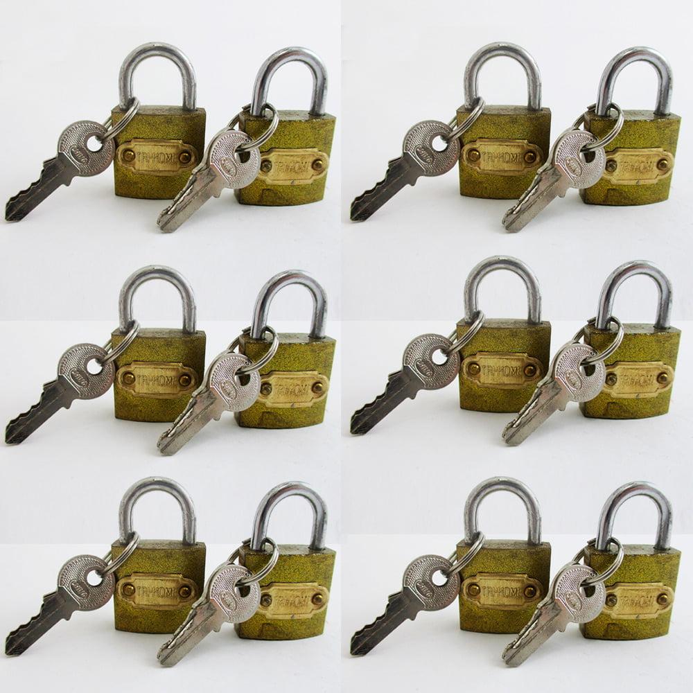 """12 Small Metal Padlocks Locks Keys Heavy Duty 1"""" Brass Box Keyed Jewelry 25mm"""
