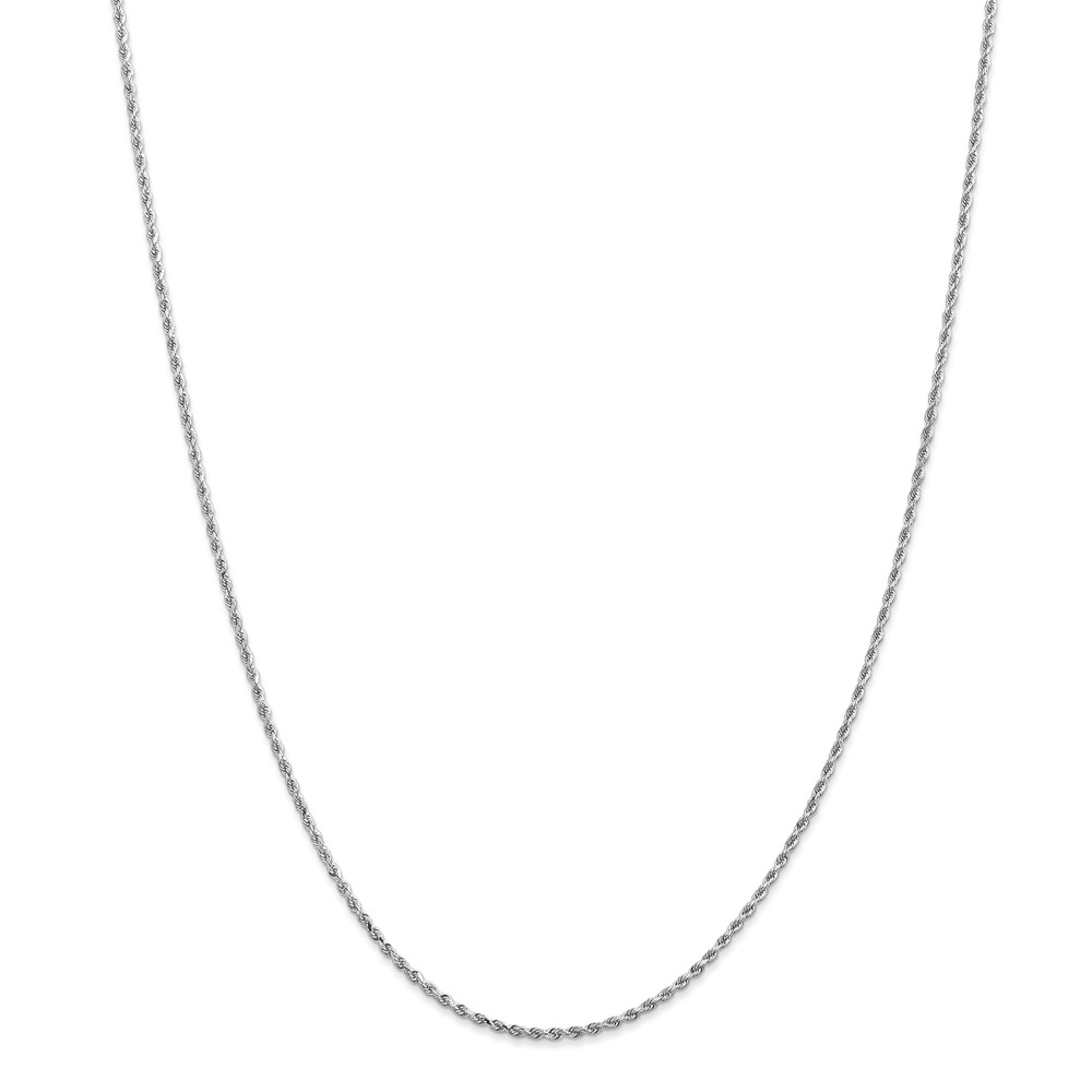14k White Gold 1.5mm D-Cut Rope Chain Necklace Lobster Claw Length: 14 to 30 by Jewelryweb