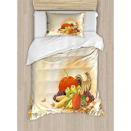 Harvest Twin Size Duvet Cover Set, Maple Tree Frame with Rustic Composition for Thanksgiving Halloween Dinner Food, Decorative 2 Piece Bedding Set with 1 Pillow Sham, Multicolor, by Ambesonne - Halloween Dinner For Two