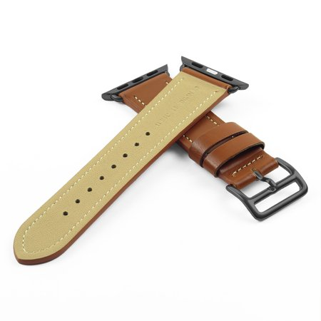 DASSARI Smooth Leather iWatch Band Strap for Apple Watch w/ Matte Black Buckle 38mm 42mm - image 1 of 4
