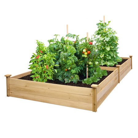 Greenes Value Cedar Raised Garden Bed 4 ft. x 8 ft. x 10.5 in., Unfinished (.5-.625 in. thick)