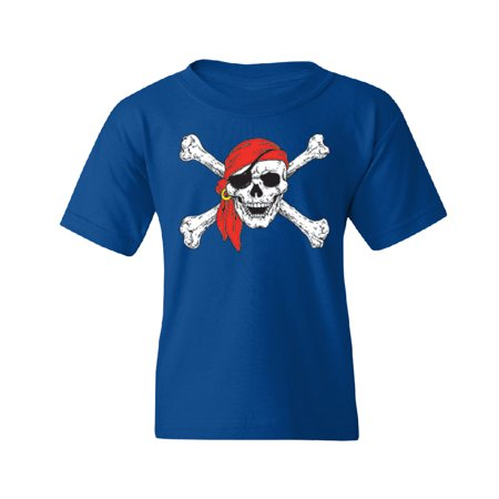 Pirate Clothing (Jolly Roger Pirate Flag Youth T-shirt Tee Royal Blue YOUTH)