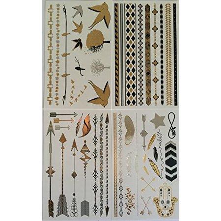 Tatouages temporaires - 4 pages de Belle Metallic Tattoo Flash & Body Art - noir, argent et bijoux en or Tatouage, Bracelets, étoiles, bandes, oiseaux, arbres, flèches, plumes et plus | Twink Designs