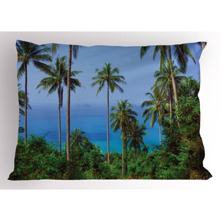 Palm Tree Pillow Sham Ocean Scene from Jungle Tropical Beautiful Picture of Paradise in Nature Theme, Decorative Standard Size Printed Pillowcase, 26 X 20 Inches, Blue Green, by - Jungle Themed Vbs