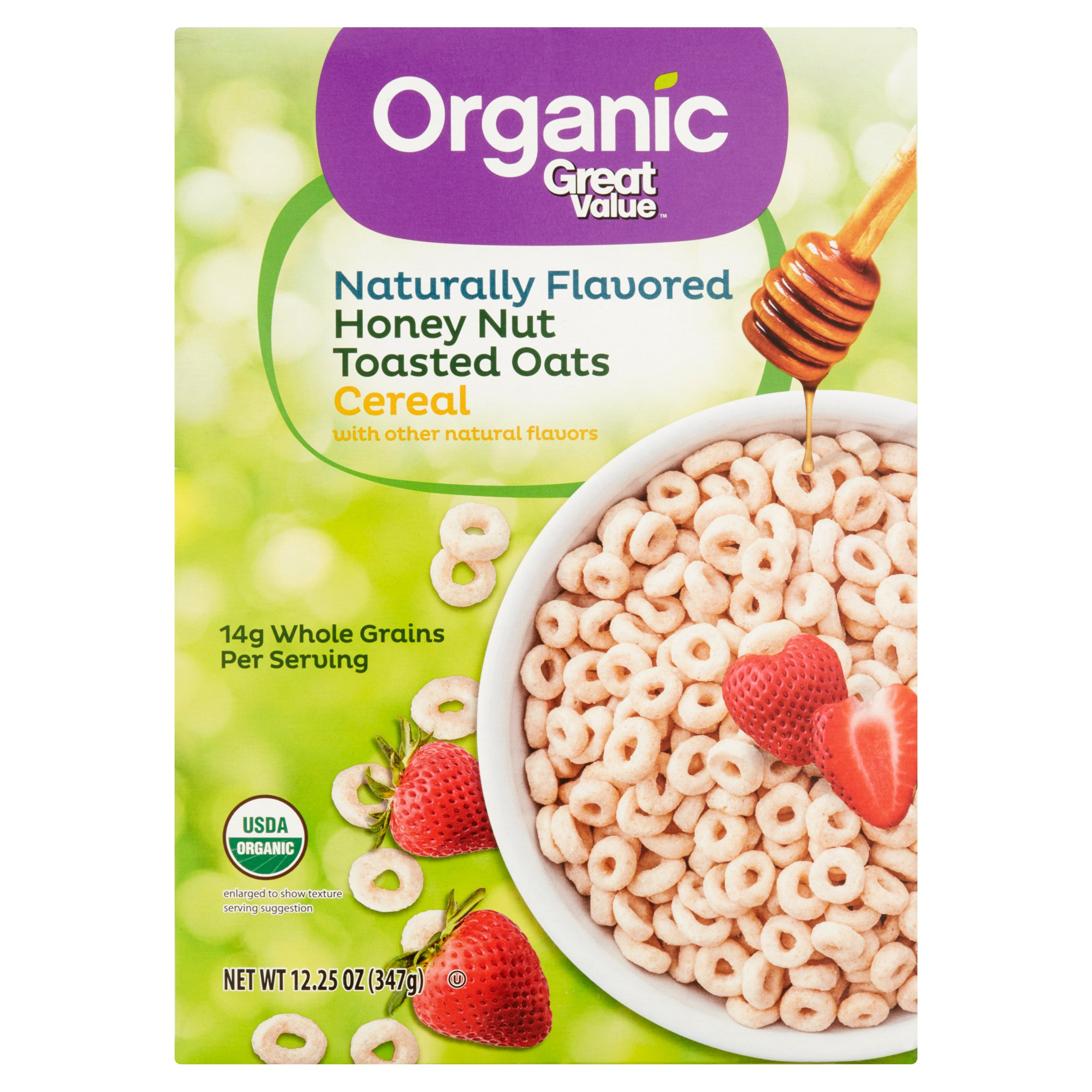 (2 Pack) Great Value Organic Honey Nut Toasted Oats Cereal, 12.25 oz
