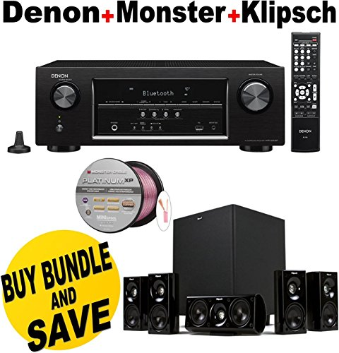 Denon AVR-S510BT 5.2 Channel Full 4K Ultra HD A/V Receiver with Bluetooth + Klipsch HDT-600 Home Theater System Bundle