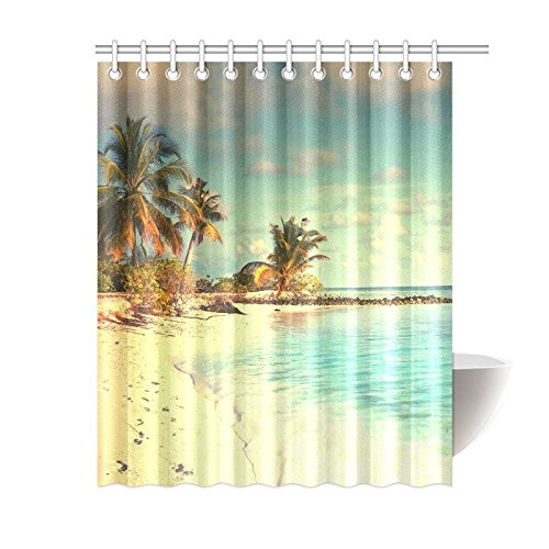 GCKG Seaside Landscape Shower Curtain Palm Trees Beach Polyester Fabric Bathroom Sets With Hooks 60x72 Inches