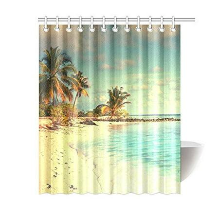 Fantastic Gckg Seaside Landscape Shower Curtain Palm Trees Beach Download Free Architecture Designs Grimeyleaguecom