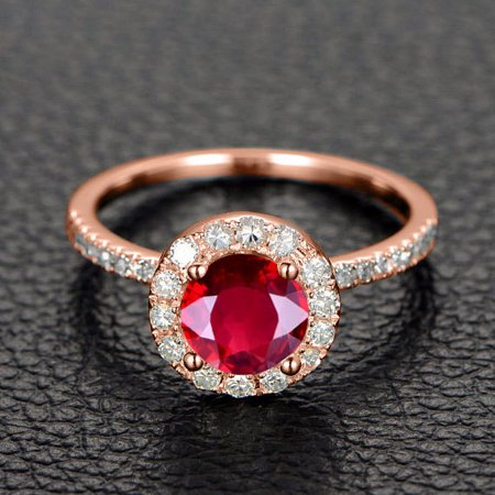 1.50 Carat Red Ruby and Diamond Halo Engagement Ring in 10k Rose Gold for Women
