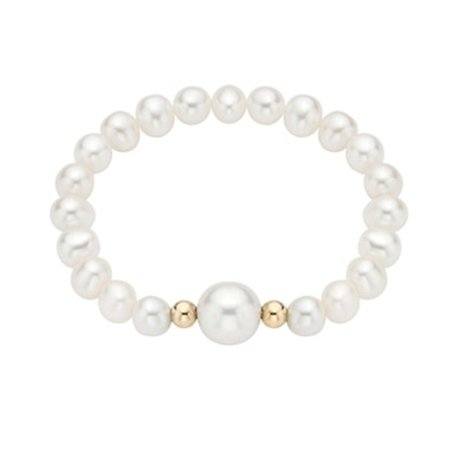 eba5b3987 Pearlyta - 14k Gold Bead Pearl Baby Stretch Bracelet with White Center (4-6  mm) - Fine Jewelry Gift for Baby/Kids/Children - Walmart.com