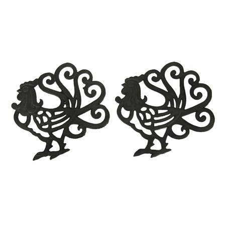- Black Scroll Tail Rooster Cast Iron Trivet Set of 2