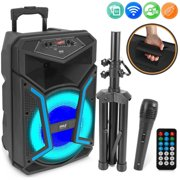 Pyle PPHP152SM - PA Speaker & Microphone System - Portable Karaoke Speaker with Wired Mic, Built-in LED Party Lights, Speaker Stand (15 Subwoofer, 1200 Watt MAX)