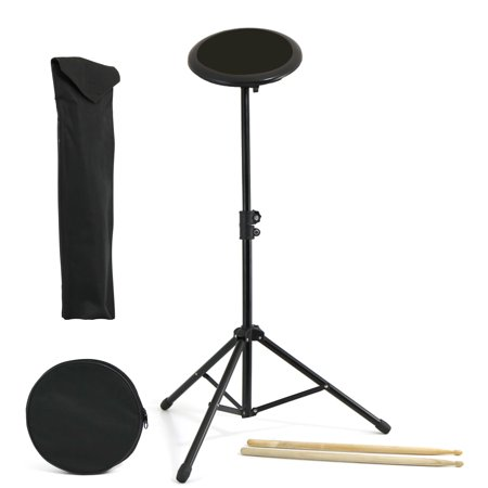 D'Luca Drum Practice Pad 8 Inch with Adjustable Stand, Sticks and Gig