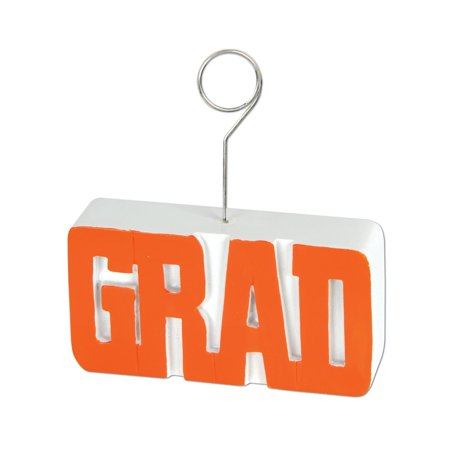 Pack of 6 Orange Grad Photo or Balloon Holder Decorations 6 oz. for $<!---->
