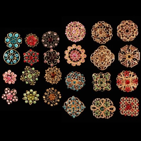 24pcs Crystal Brooches Pins Flower Bouquet Pins for Wedding Party Decor, DIY, Women Girls Dress, Hat and Bag Decor