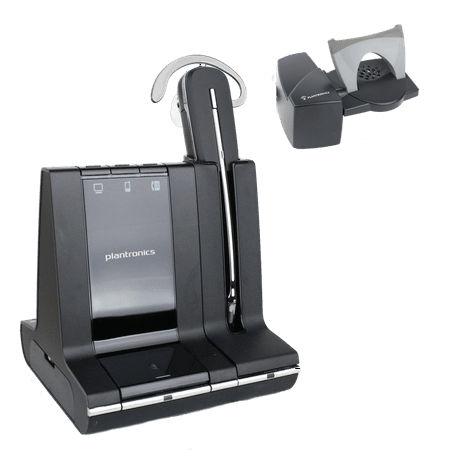 Plantronics Savi W740 convertible wireless headset and HL10 lifter accessory for answering calls when away from the desk. (certified