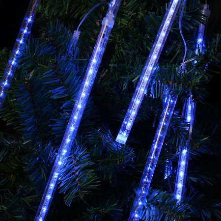 (EU STRING LIGHT TUBE BLUE) Finether 13.1 ft 8 Tube 144 LED Meteor Shower Rain Snowfall Plug-In String Lights for Holiday Christmas Halloween Party Indoor Outdoor Decoration Commercial Use, Blue Glow - Meteor Seattle Halloween
