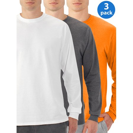 Mens Eversoft Long Sleeve Crew T-Shirt with Ribbed Cuffs, 3 Pack 3 Pack Cotton V-neck Tee
