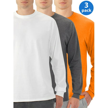 Mens Eversoft Long Sleeve Crew T-Shirt with Ribbed Cuffs, 3 Pack