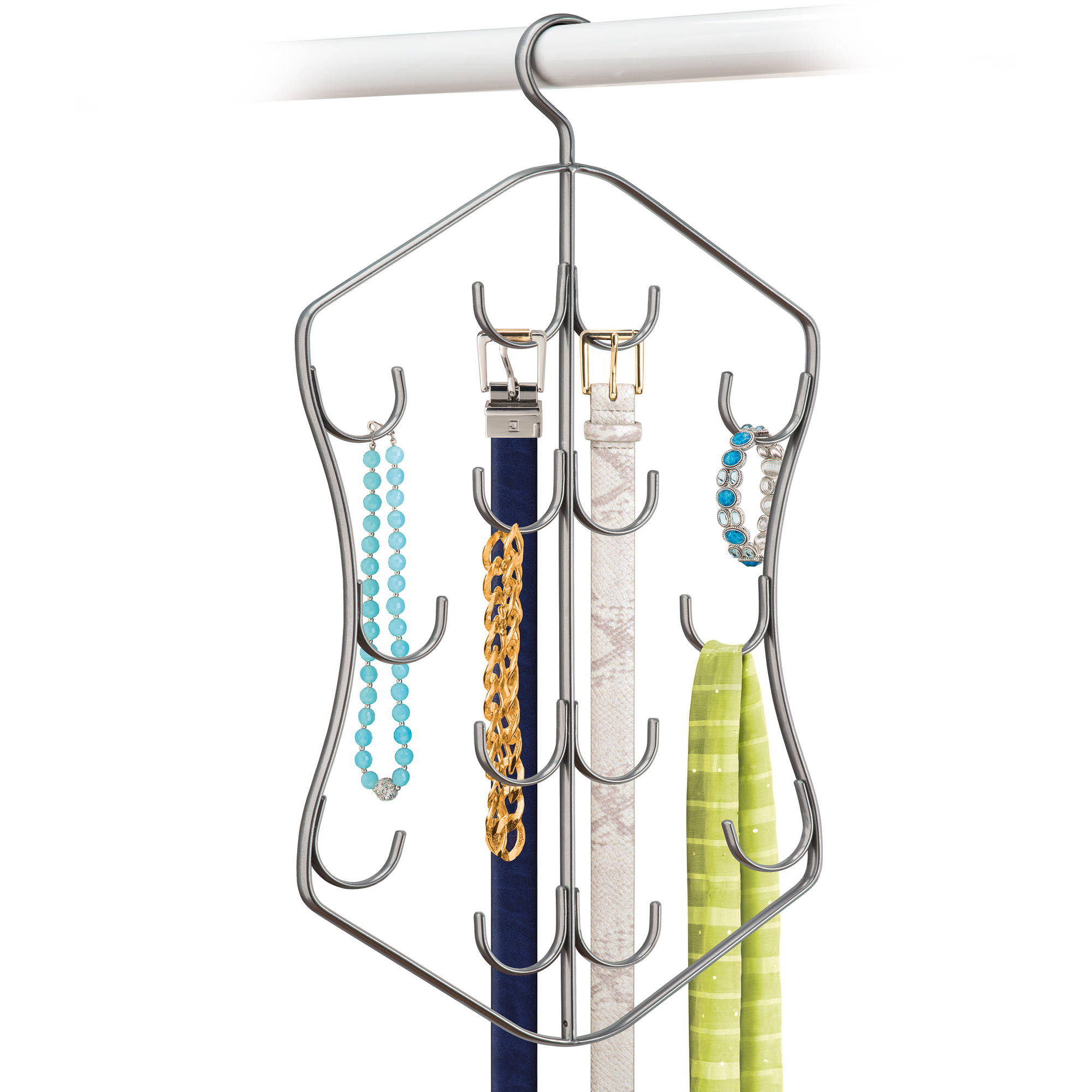 Lynk Hanging Jewelry, Scarf, and Accessory Organizer - 14 Hook Closet Organizer Rack for Scarves, Belts, and Jewelry - Platinum