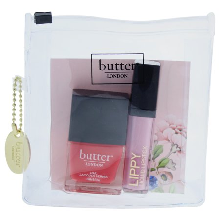 Pop Beauty Lip Pastel - Pink Pops Lip & Tips Collection by Butter London for Women - 2 Pc Kit 0.2oz Lippy Liquid Lipstick - Tickled Pink, 0.4oz Nail Lacquer - Macbeth