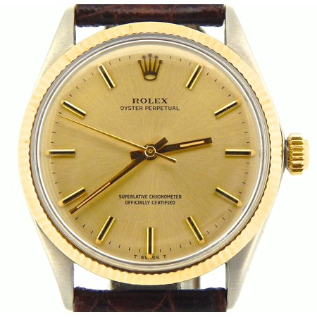 Pre-Owned Mens Rolex Two-Tone 14K/SS Oyster Perpetual Champagne 1005 (SKU
