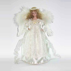 10/Light Ivory Angel Tree Topper With Fabric Hair