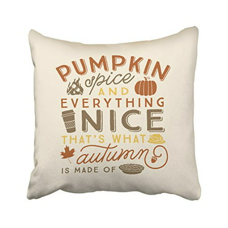 WinHome Decorative Pillowcases Halloween Pumpkin Spice Everything Nice That's What Autumn Is Made Of Throw Pillow Covers Cases Cushion Cover Case Sofa 18x18 Inches Two - Halloween Everything