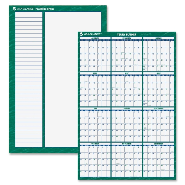 """At-A-Glance Jumbo Erasable Yearly Wall Planner - 1 Year - January 2018 till December 2018 - 32"""" x 48"""" - Wall Mountable - Green - Erasable, Laminated, Write on/Wipe off"""