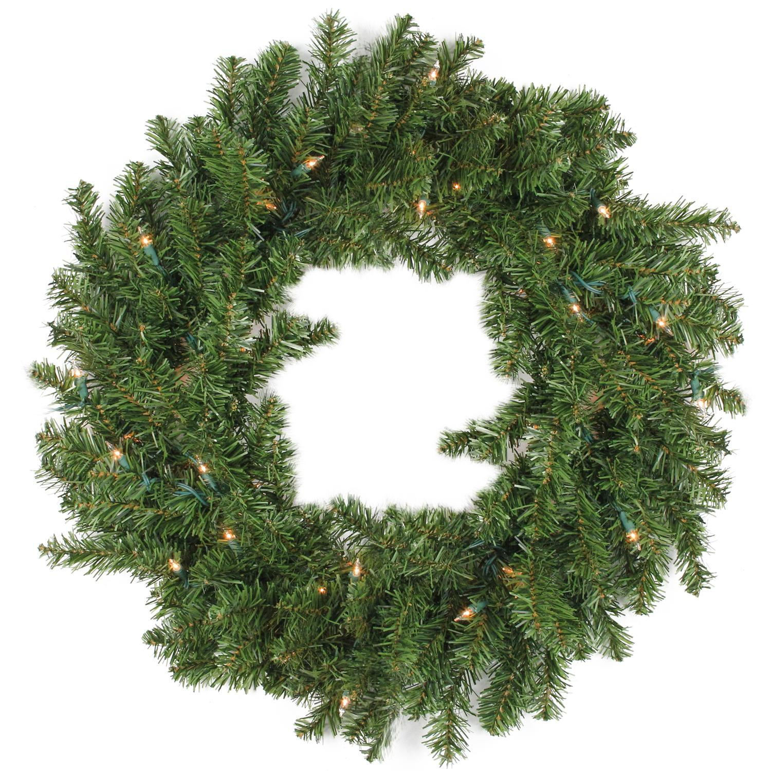 """Darice 30"""" Prelit LED Canadian Pine Artificial Christmas Wreath - Clear Lights"""