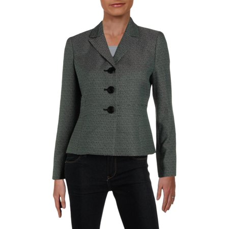Le Suit Womens Petites Tweed Office Three-Button Blazer