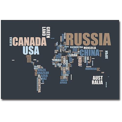 """Trademark Art """"World Text Map"""" Canvas Wall Art by Michael Tompsett"""