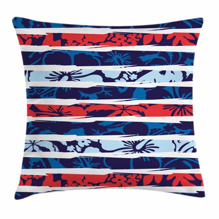 Exotic Throw Pillow Cushion Cover, Tropical Hibiscus Flower Beach Theme Vivid Color Scheme Floral Arrangement, Decorative Square Accent Pillow Case, 16 X 16 Inches, Indigo Red Baby Blue, by Ambesonne