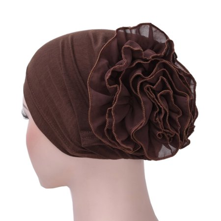 Hot Sale Fashion Women Flower Muslim Ruffle Hats Winter Warming Solid Color Beanie Turban Head Wrap Caps - Headgear Mesh Hat