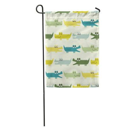 LADDKE Yellow Boy Crocodile Cartoon Pattern Blue Baby Alligator Cute Nursery Garden Flag Decorative Flag House Banner 12x18 inch
