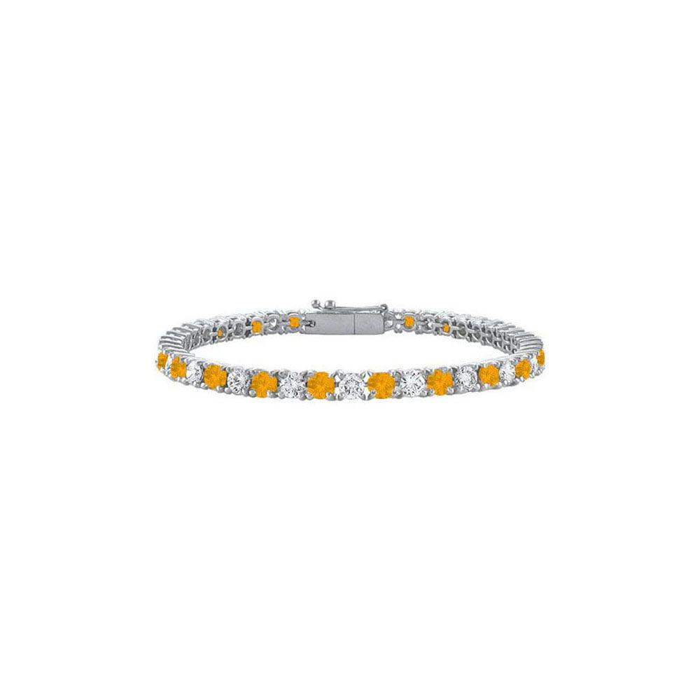 Sterling Silver Round Citrine and Cubic Zirconia Tennis Bracelet 2.00 CT TGW - image 2 de 2